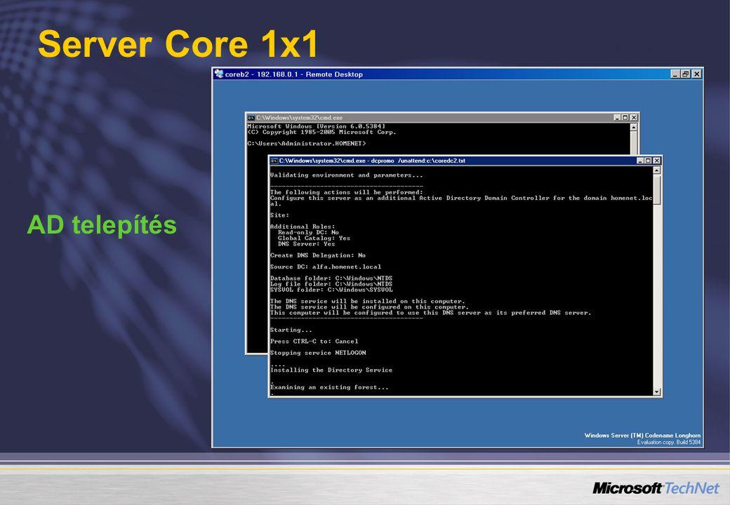 Server Core 1x1 AD telepítés