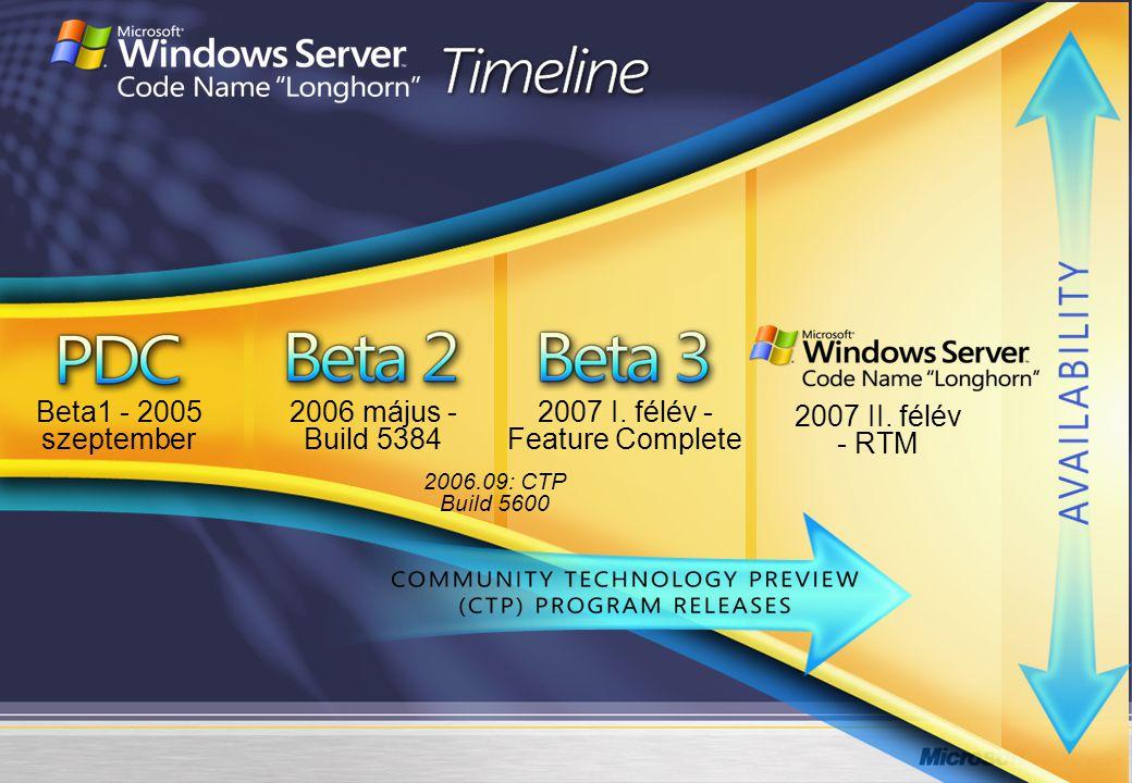 Beta1 - 2005 szeptember 2006 május - Build 5384 2007 I. félév -