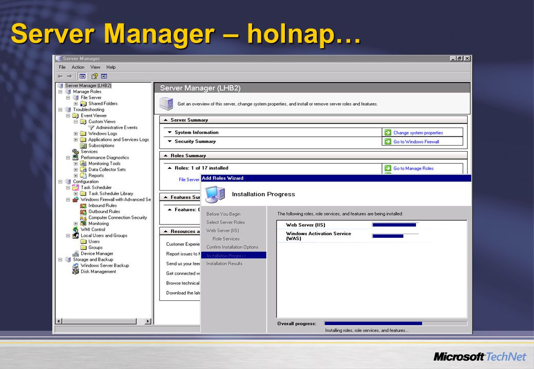 Server Manager – holnap…