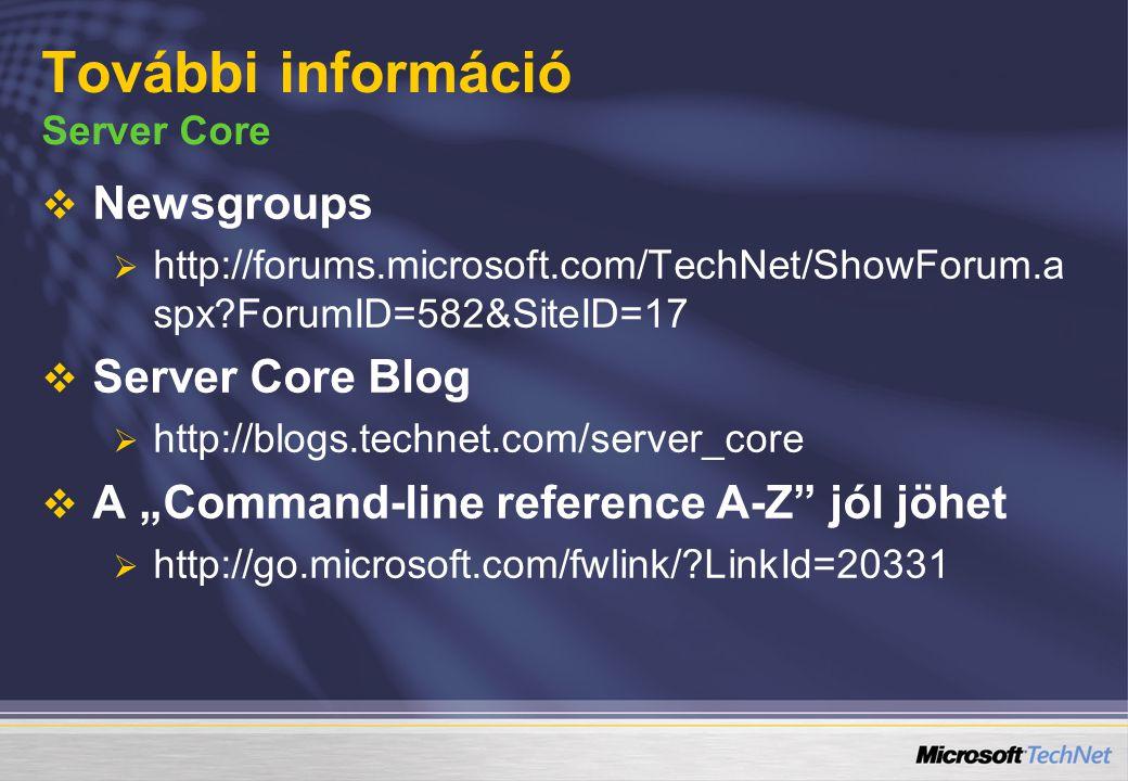 További információ Server Core