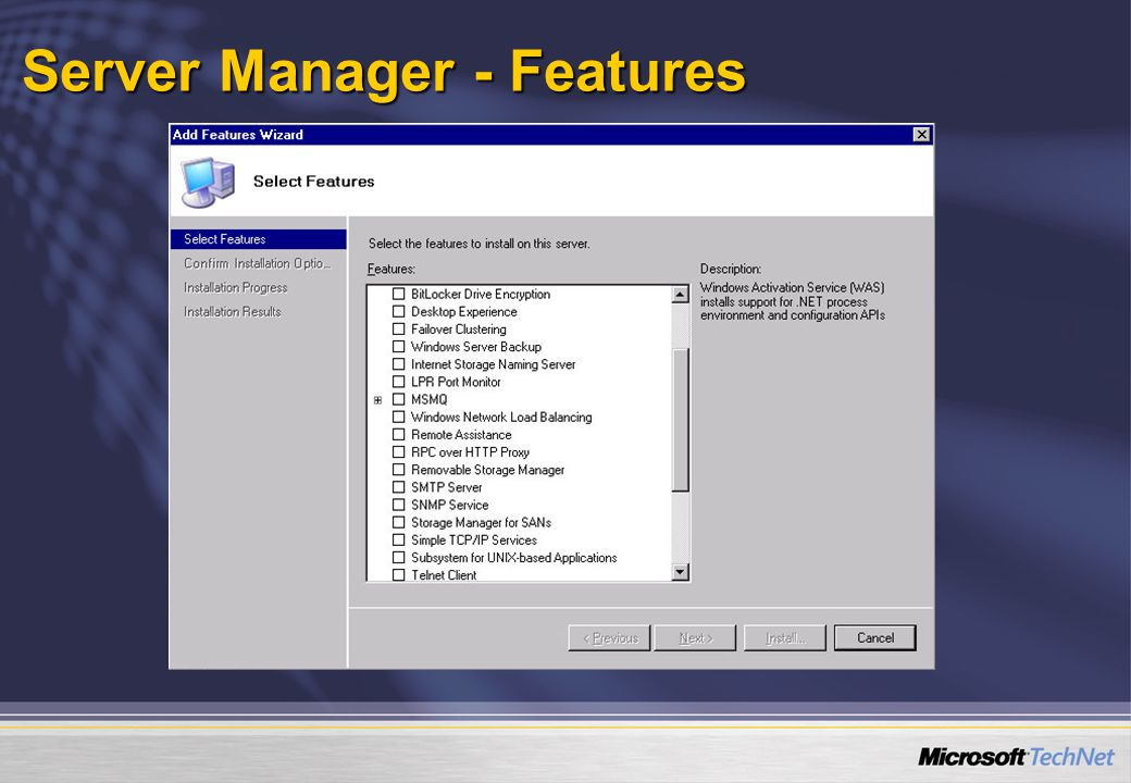 Server Manager - Features
