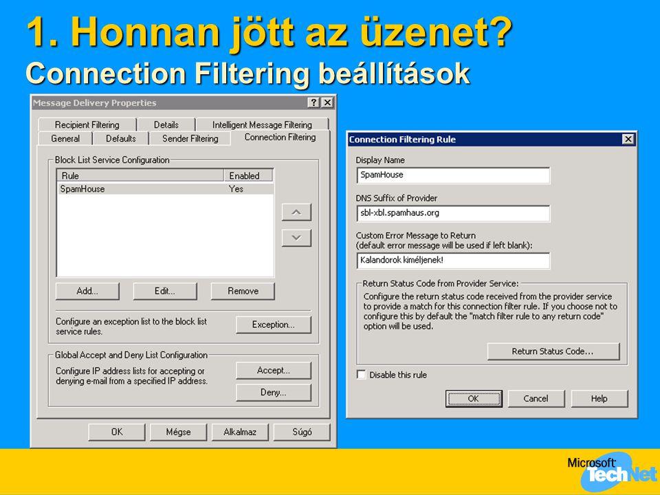 1. Honnan jött az üzenet Connection Filtering beállítások