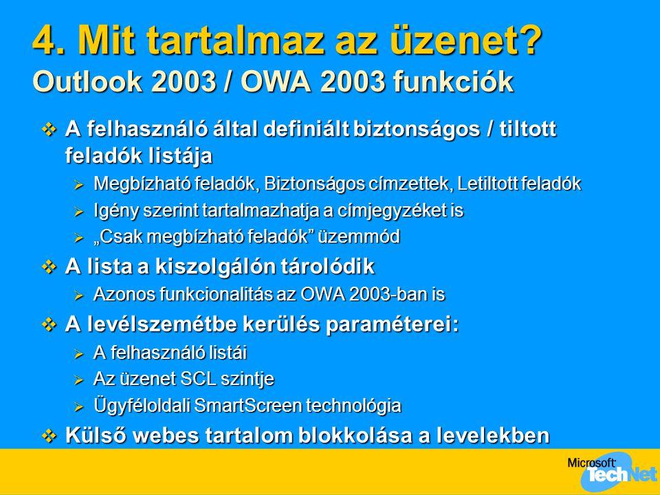 4. Mit tartalmaz az üzenet Outlook 2003 / OWA 2003 funkciók
