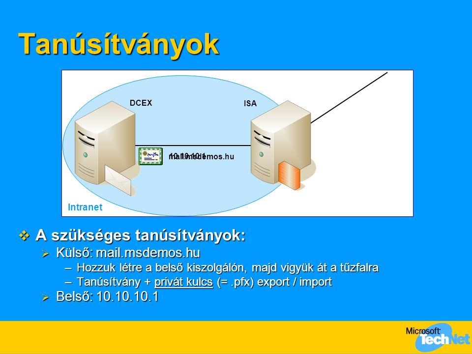 Tanúsítványok A szükséges tanúsítványok: Külső: mail.msdemos.hu