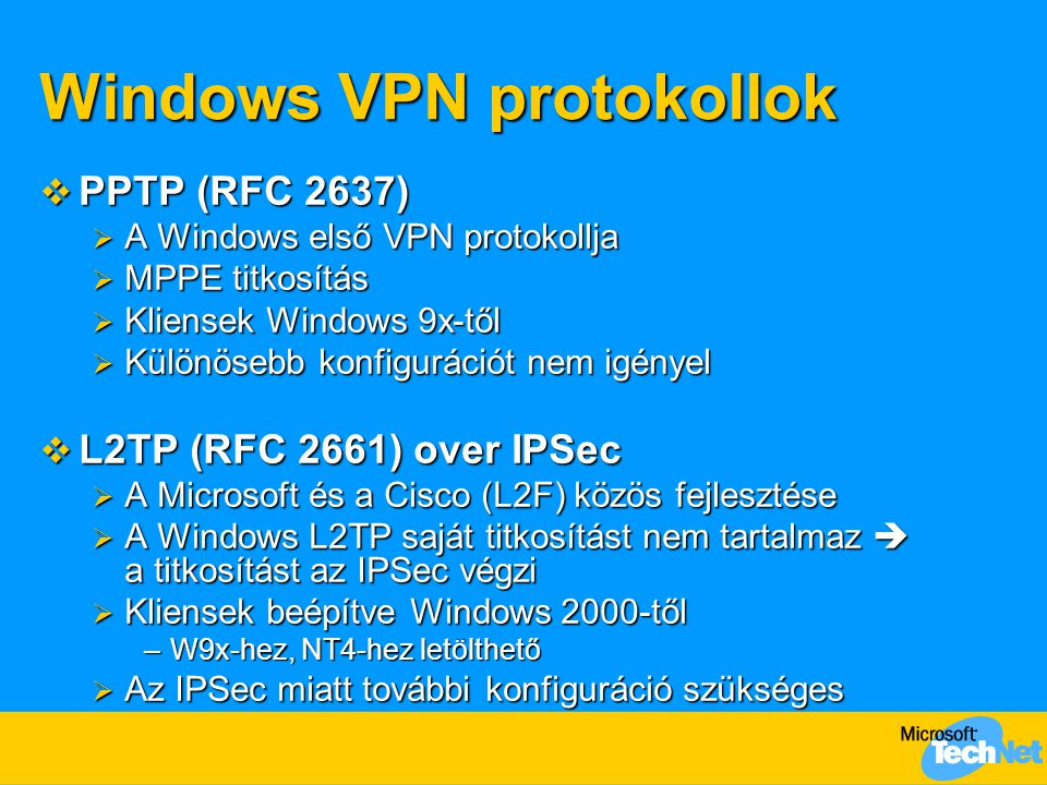 Windows VPN protokollok
