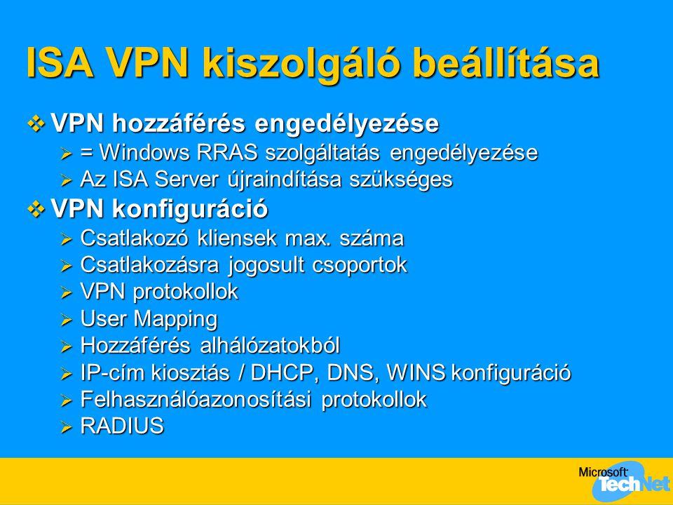 ISA VPN kiszolgáló beállítása