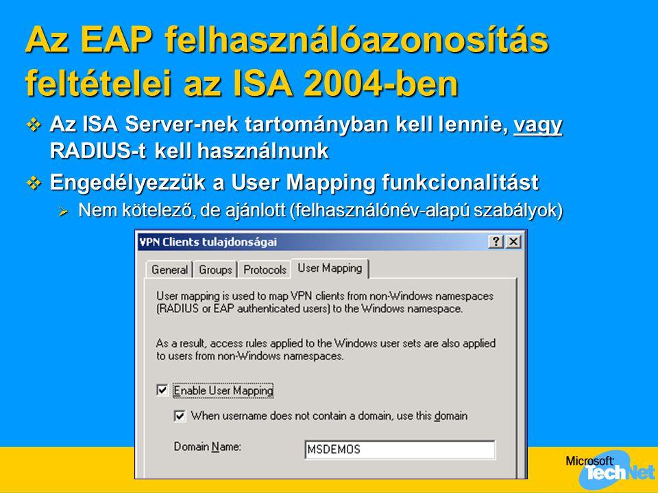 Az EAP felhasználóazonosítás feltételei az ISA 2004-ben