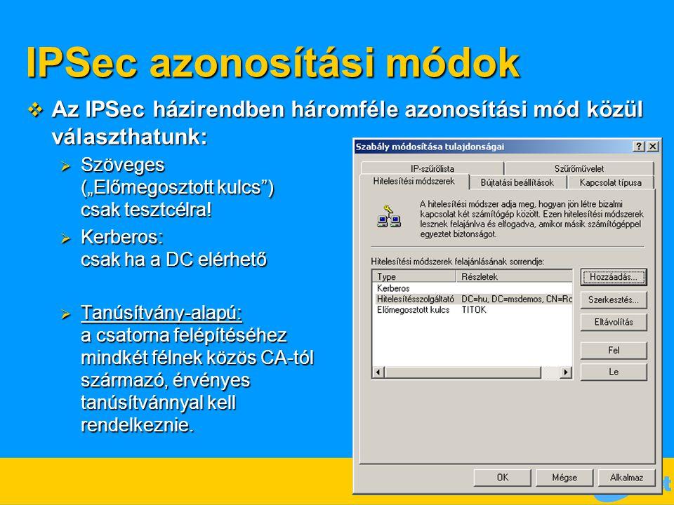IPSec azonosítási módok
