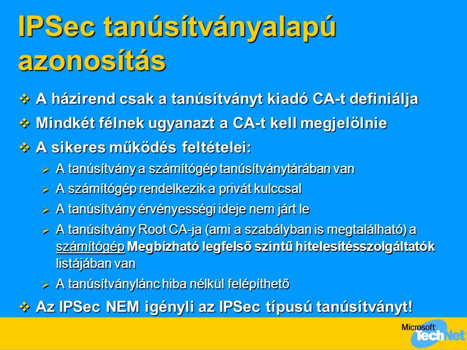 IPSec tanúsítványalapú azonosítás