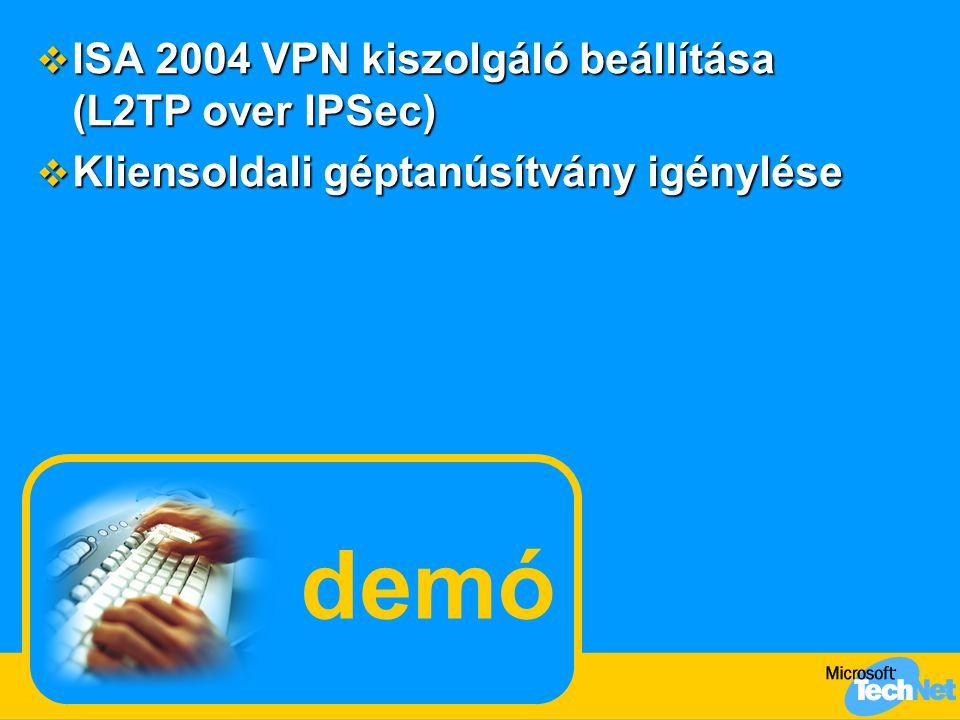 demó ISA 2004 VPN kiszolgáló beállítása (L2TP over IPSec)