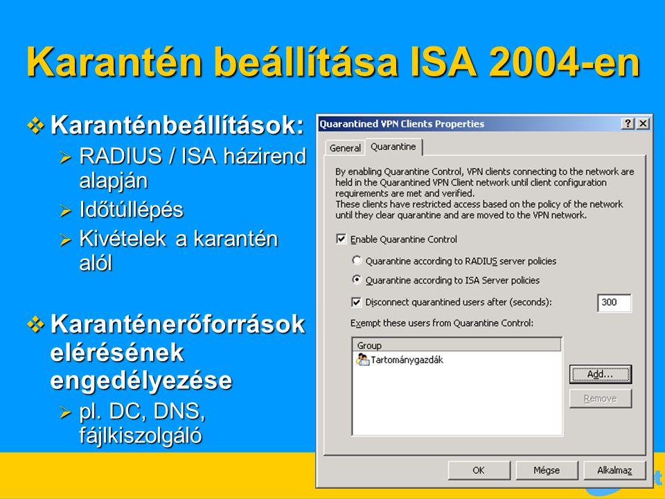 Karantén beállítása ISA 2004-en