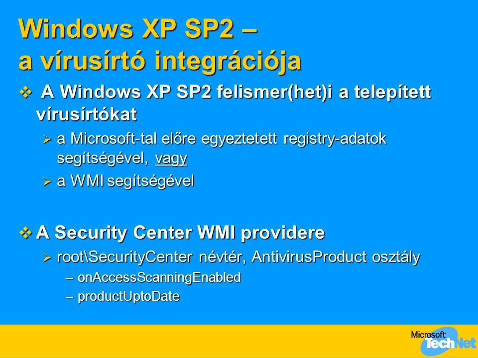 Windows XP SP2 – a vírusírtó integrációja