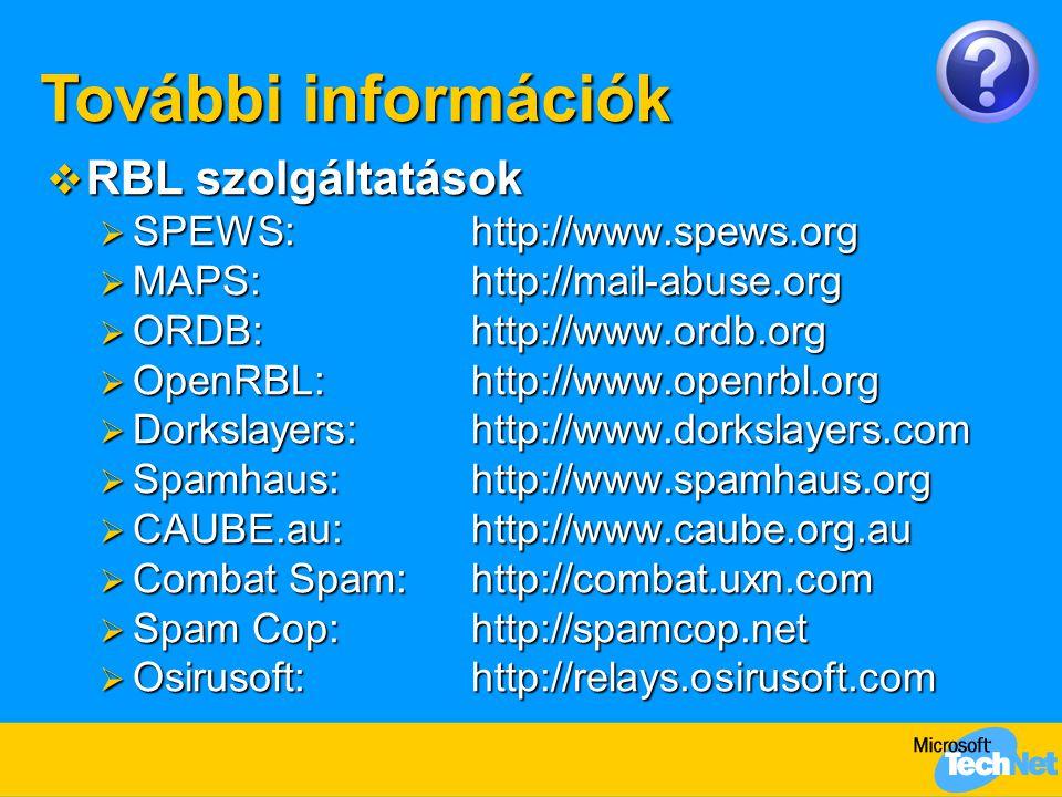 További információk RBL szolgáltatások SPEWS: http://www.spews.org