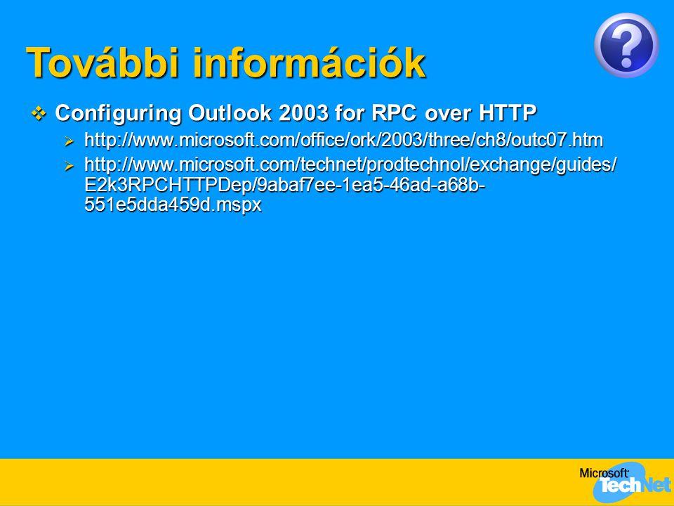 További információk Configuring Outlook 2003 for RPC over HTTP