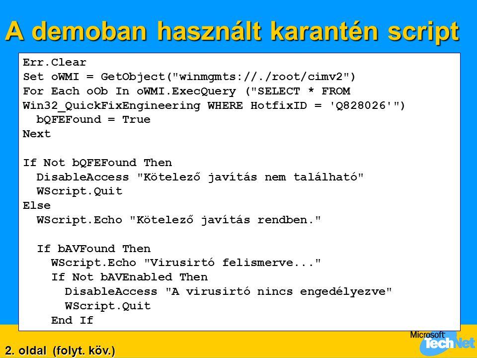 A demoban használt karantén script