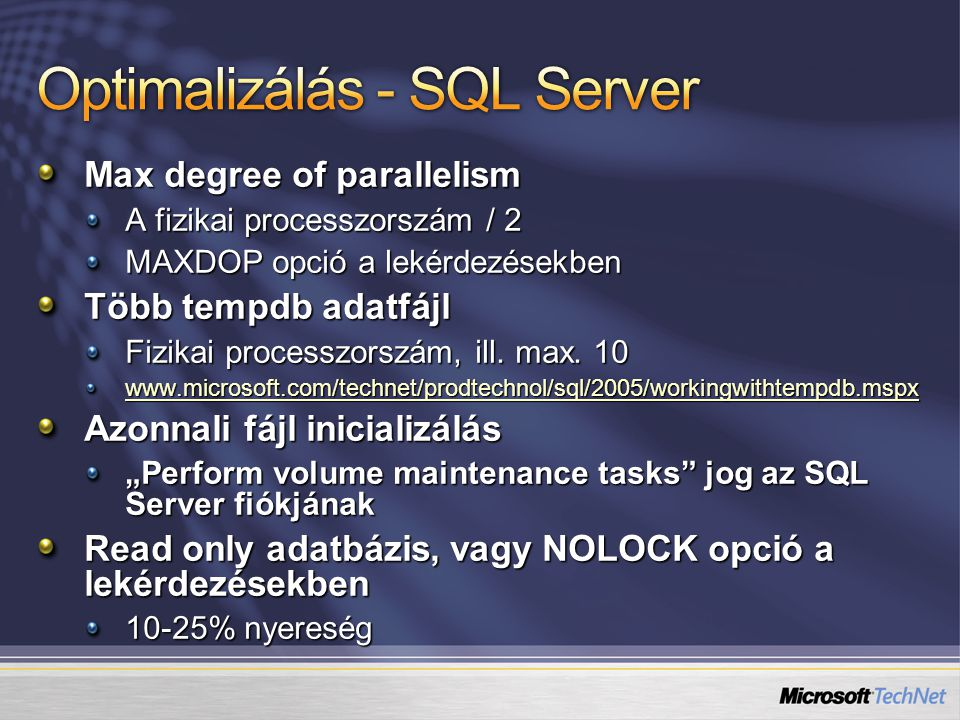 Optimalizálás - SQL Server