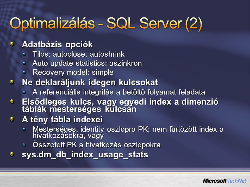 Optimalizálás - SQL Server (2)