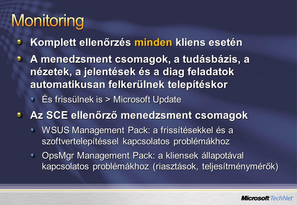 Monitoring Komplett ellenőrzés minden kliens esetén