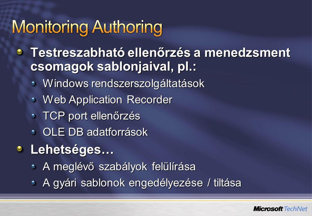 Monitoring Authoring Testreszabható ellenőrzés a menedzsment csomagok sablonjaival, pl.: Windows rendszerszolgáltatások.