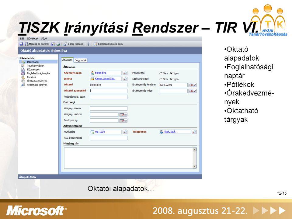 TISZK Irányítási Rendszer – TIR VI.