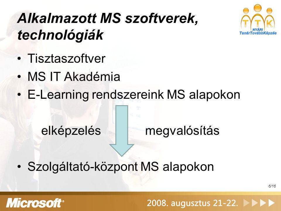 Alkalmazott MS szoftverek, technológiák