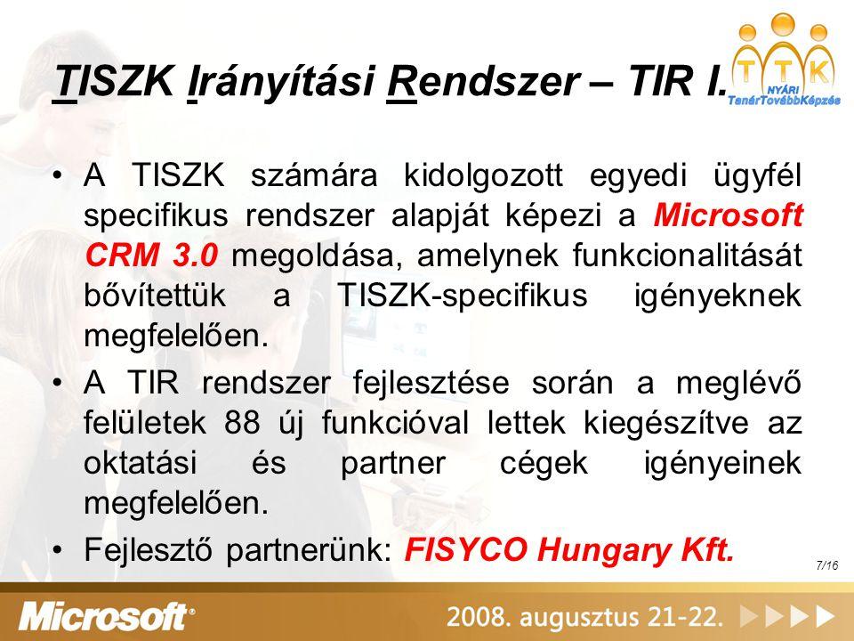 TISZK Irányítási Rendszer – TIR I.