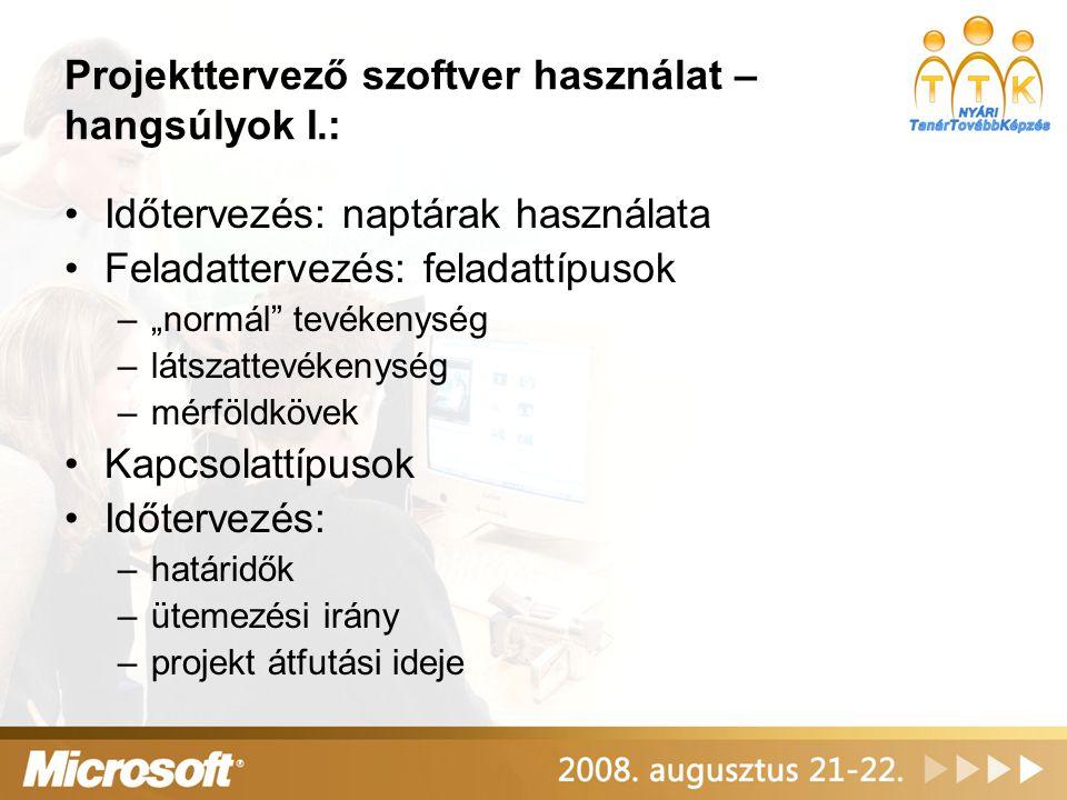 Projekttervező szoftver használat – hangsúlyok I.: