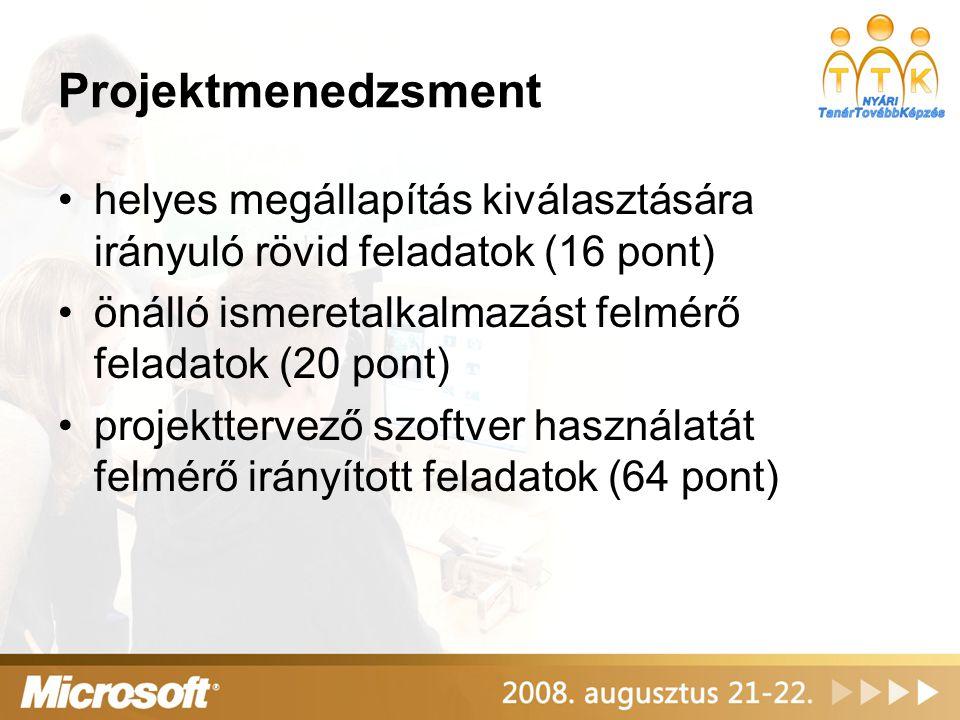 Projektmenedzsment helyes megállapítás kiválasztására irányuló rövid feladatok (16 pont) önálló ismeretalkalmazást felmérő feladatok (20 pont)