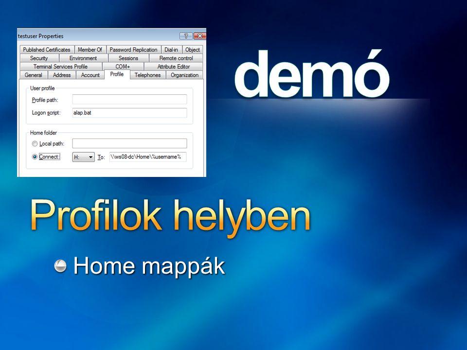 Profilok helyben Home mappák