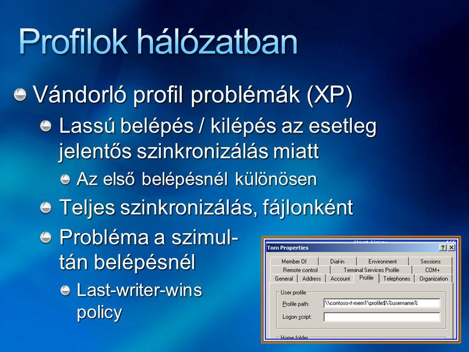Profilok hálózatban Vándorló profil problémák (XP)