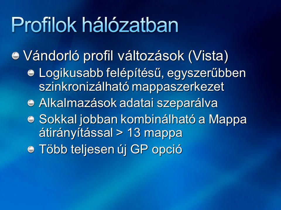 Profilok hálózatban Vándorló profil változások (Vista)