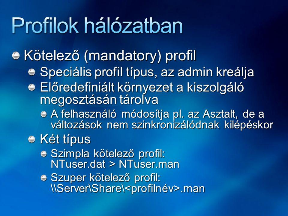Profilok hálózatban Kötelező (mandatory) profil