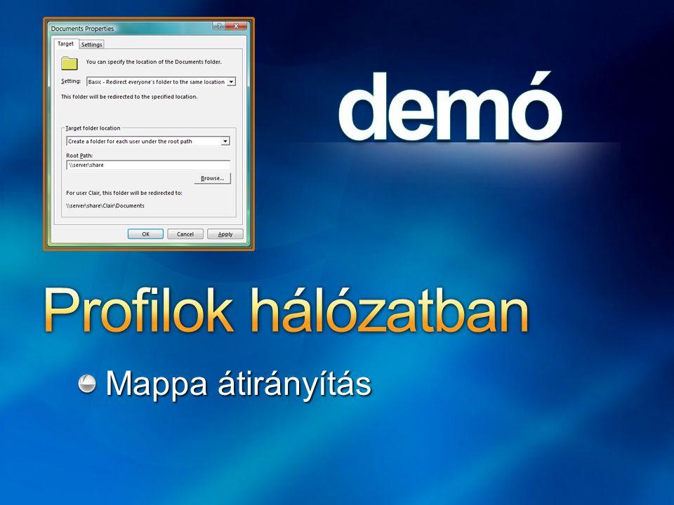 Profilok hálózatban Mappa átirányítás