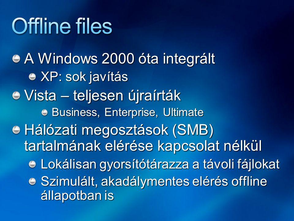 Offline files A Windows 2000 óta integrált Vista – teljesen újraírták