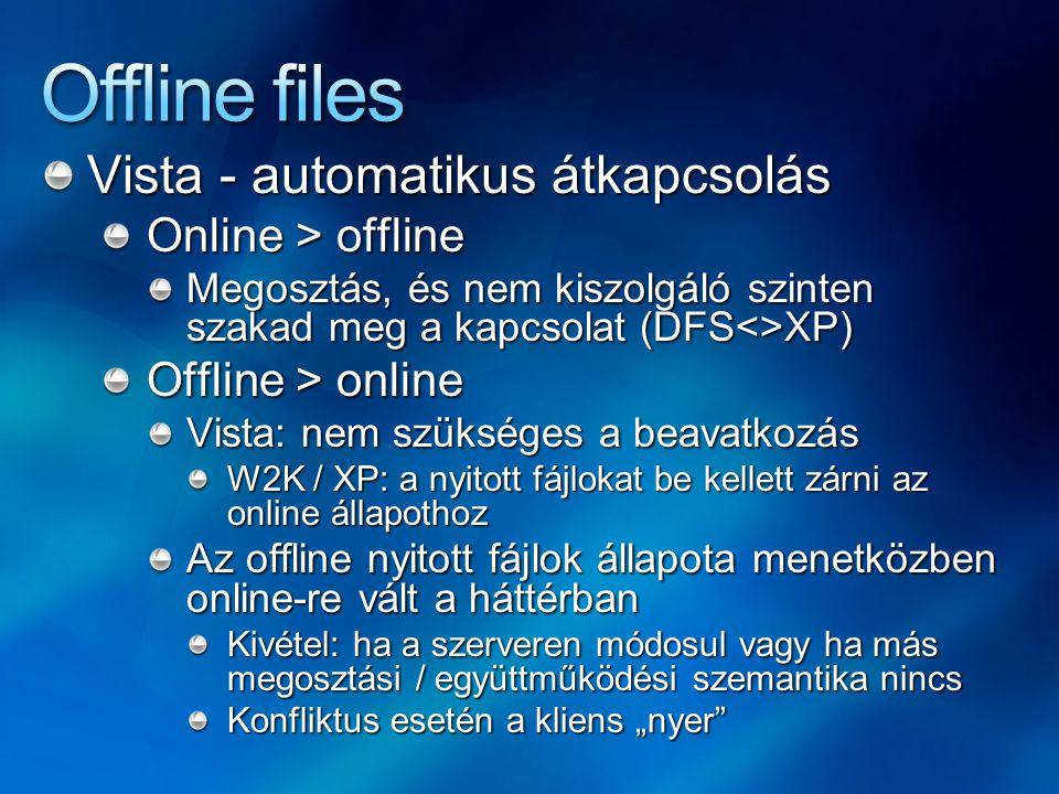 Offline files Vista - automatikus átkapcsolás Online > offline