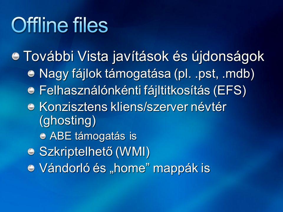 Offline files További Vista javítások és újdonságok