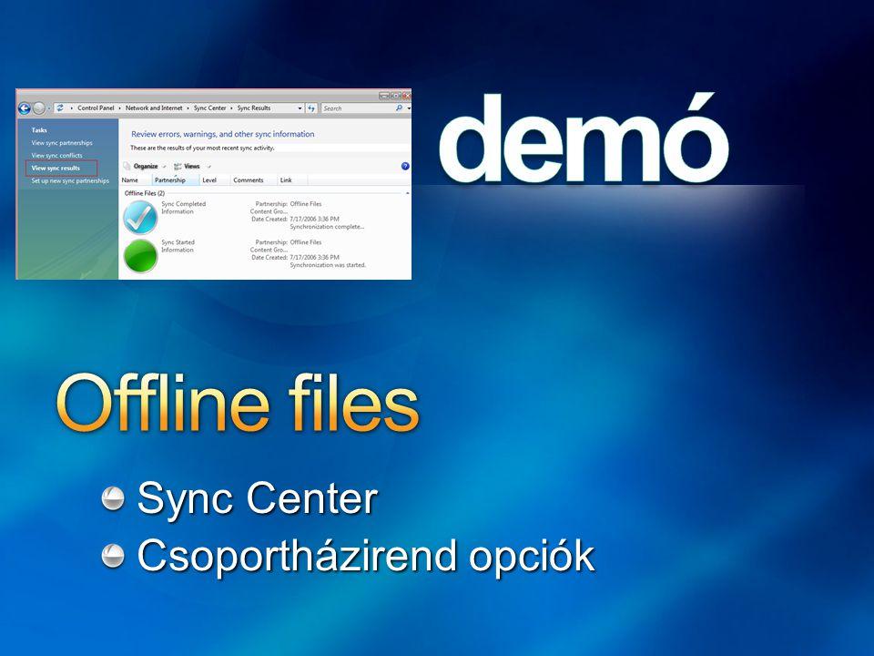 Offline files Sync Center Csoportházirend opciók