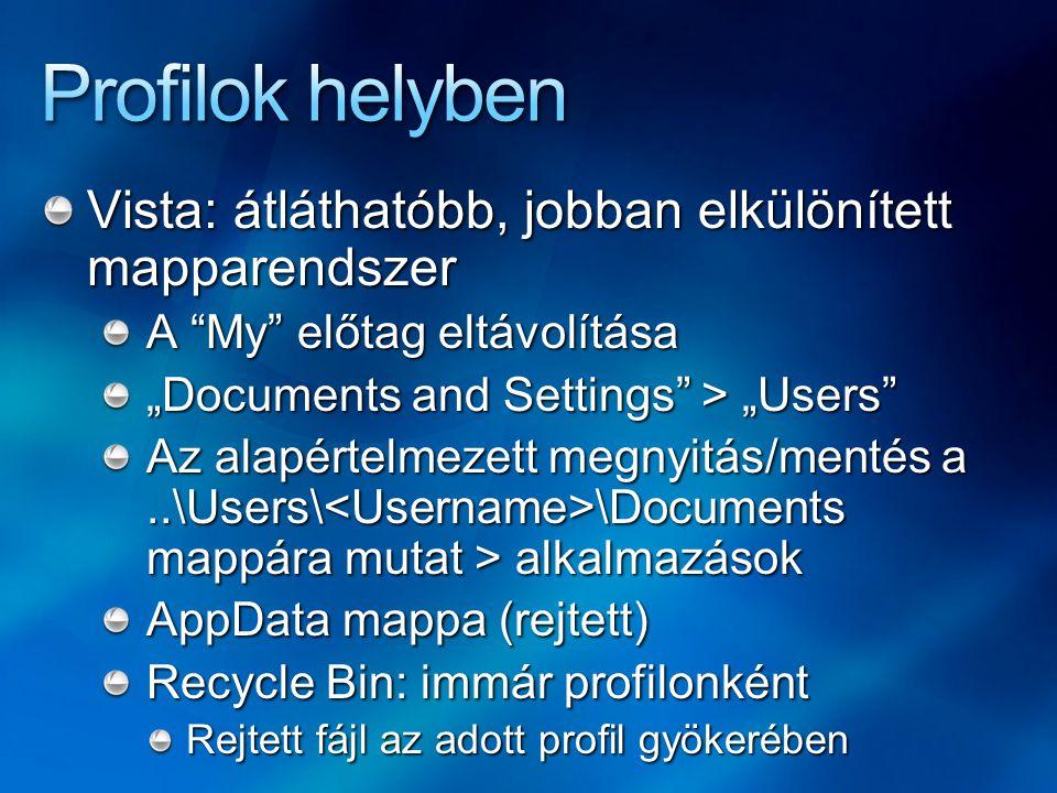 Profilok helyben Vista: átláthatóbb, jobban elkülönített mapparendszer