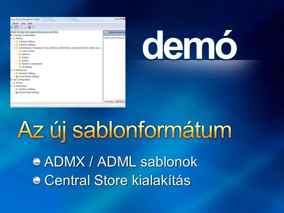 Az új sablonformátum ADMX / ADML sablonok Central Store kialakítás