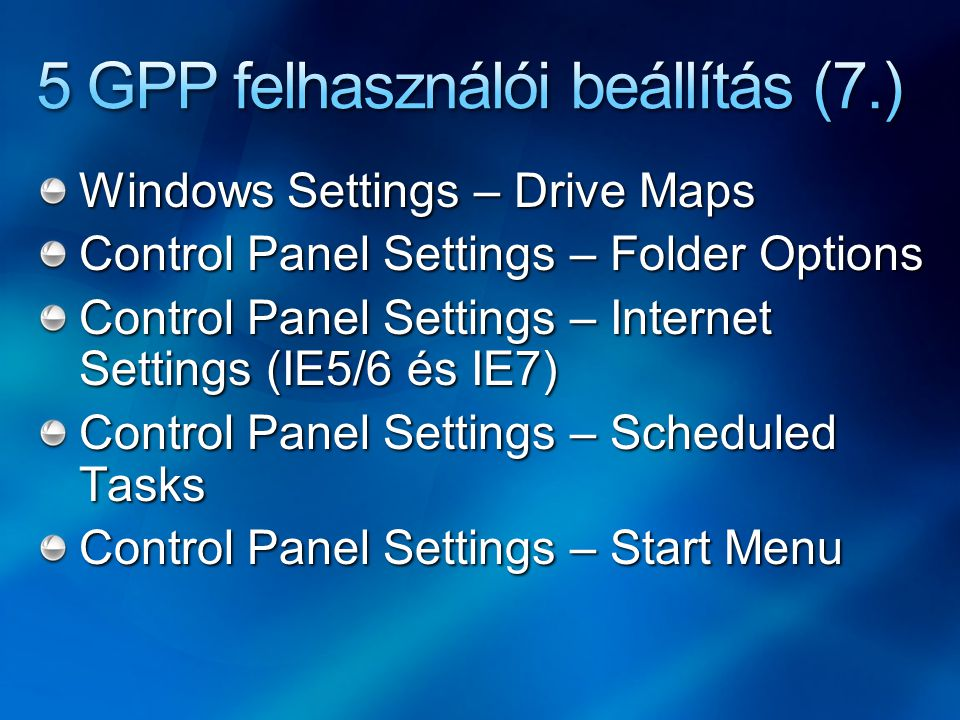 5 GPP felhasználói beállítás (7.)