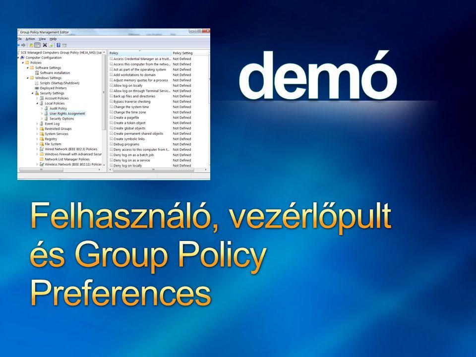 Felhasználó, vezérlőpult és Group Policy Preferences