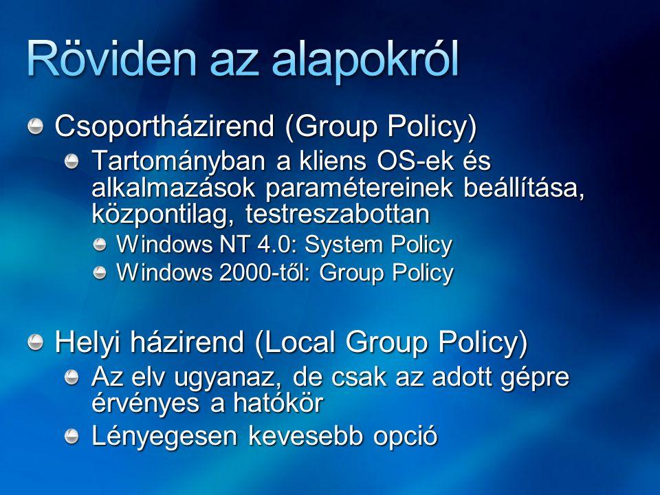 Röviden az alapokról Csoportházirend (Group Policy)