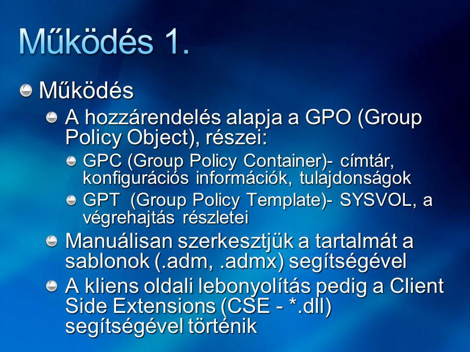 Működés 1. Működés. A hozzárendelés alapja a GPO (Group Policy Object), részei: