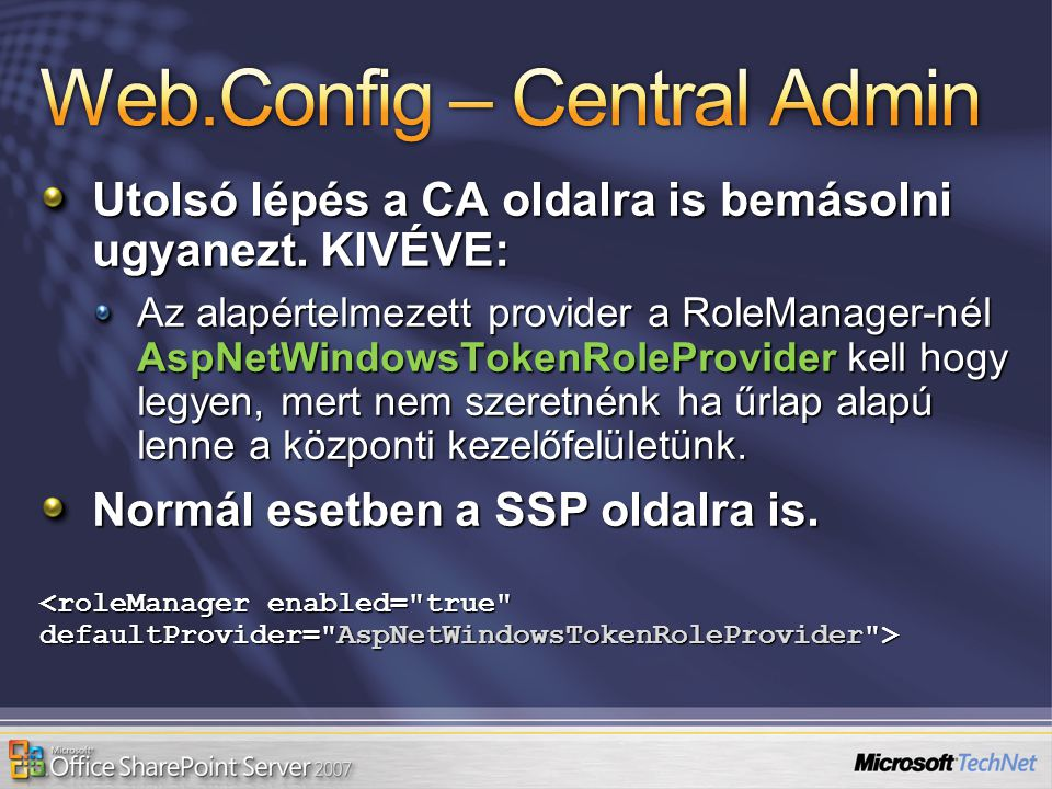 Web.Config – Central Admin