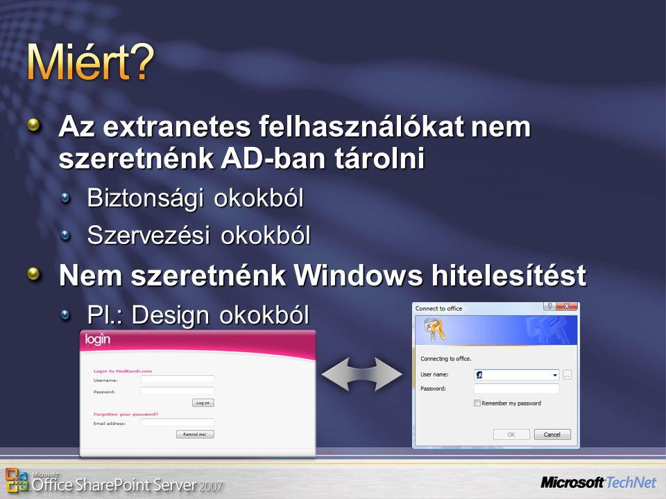 Miért Az extranetes felhasználókat nem szeretnénk AD-ban tárolni