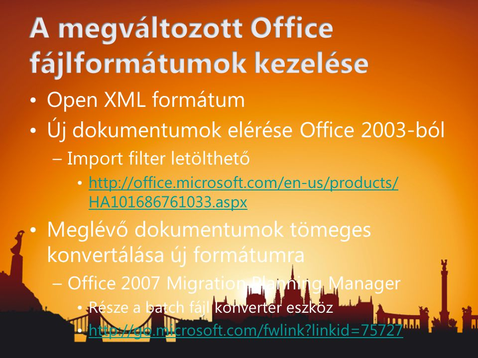 A megváltozott Office fájlformátumok kezelése