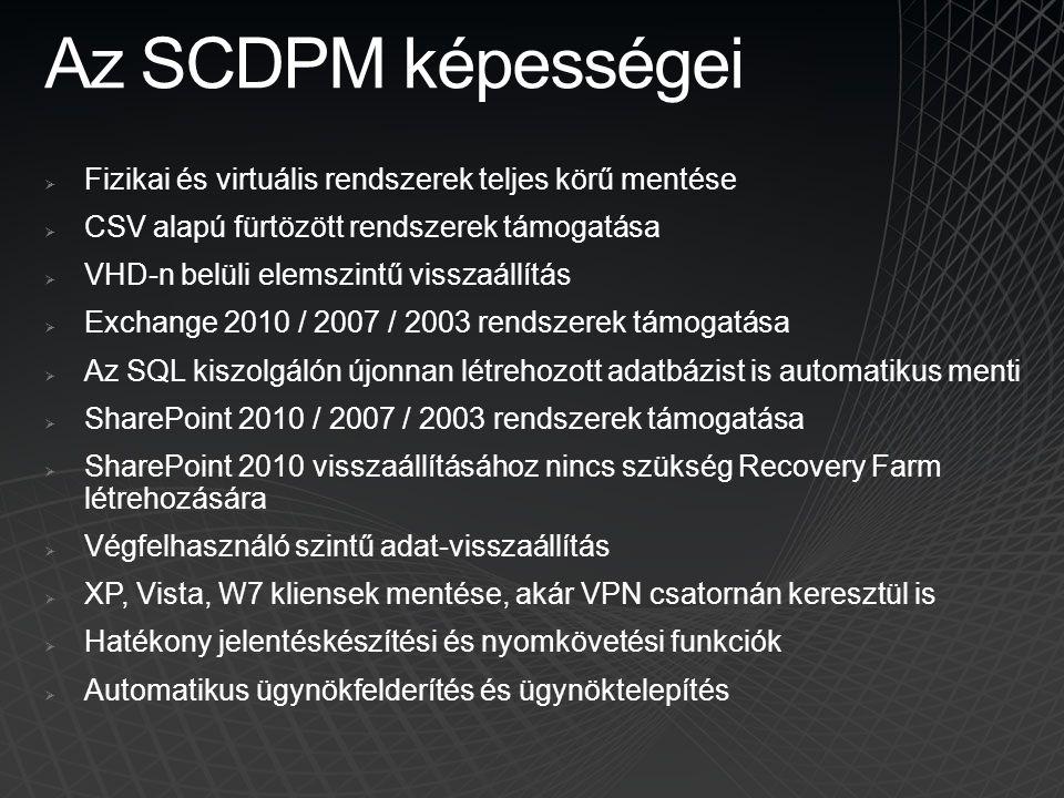 Az SCDPM képességei Fizikai és virtuális rendszerek teljes körű mentése. CSV alapú fürtözött rendszerek támogatása.