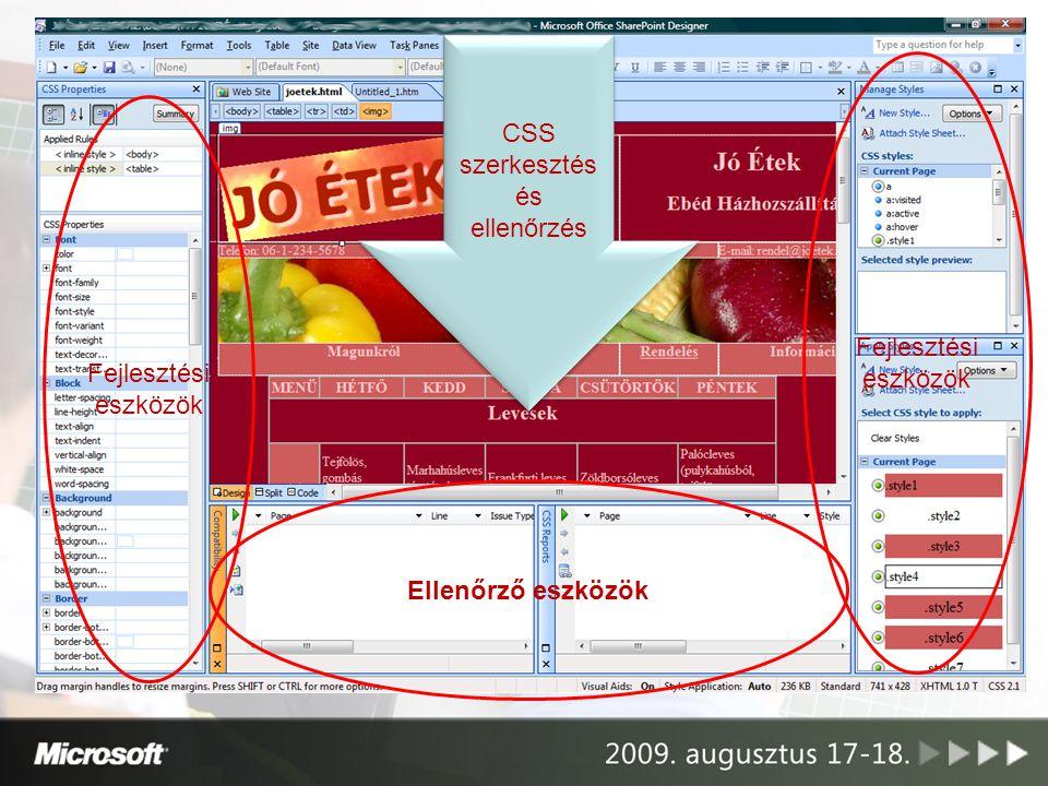CSS szerkesztés és ellenőrzés