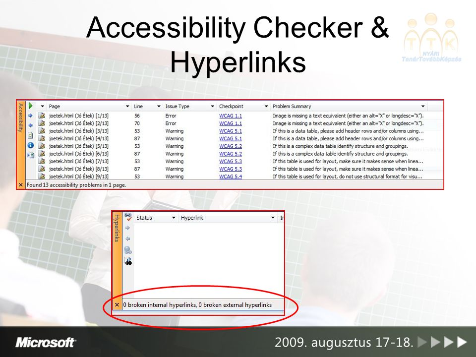 Accessibility Checker & Hyperlinks