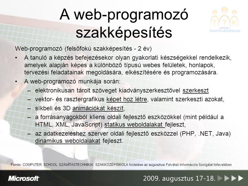 A web-programozó szakképesítés